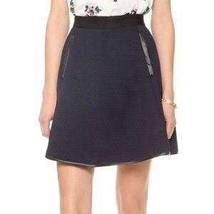 MADEWELL Navy Leather Trim Skirt